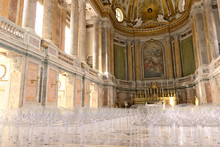 Reggia Di Caserta, Italy. 10/27/2018. Interior Of The Chapel Inside The Palace. Contemporary Plexiglass Chairs.
