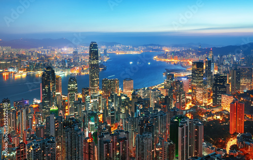 Photo Amazing view on Hong Kong city from the Victoria peak, China