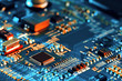 canvas print picture - Electronic circuit board close up.