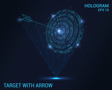 The Target And The Arrow Hologram. Digital And Technological Background Of The Target. Futuristic Archery Design.