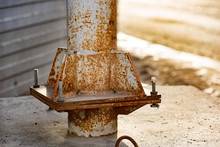 Rusty Metal Pole With Bolts An...