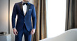 canvas print picture - Man model in expensive custom tailored blue tuxedo, suit standing and posing indoors