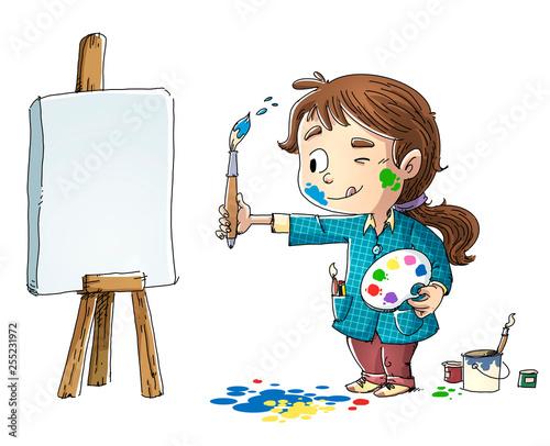 Fototapeta niña pintando un cuadro