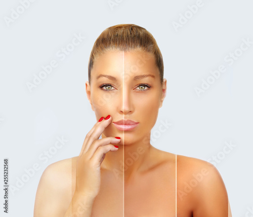 Obraz Beauty visual about suntan. Model's face divided in parts - tanned and natural.Different tones of tan - fototapety do salonu