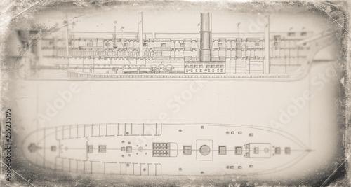 Photo  The gunboat - history, vintage, illustration, retro style,  19th Century Style,