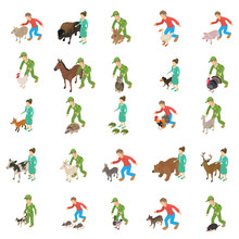 Animal Protection Icons Set. Isometric Set Of 25 Animal Protection Vector Icons For Web Isolated On White Background