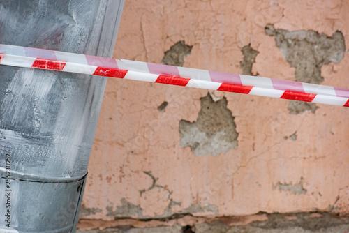 Fotografia, Obraz  Protective tape and drainpipe with wall