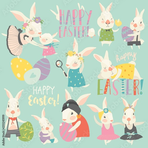 Cute rabbit and bunny with Easter eggs