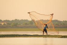 NAKHON PHANOM, THAILAND - Nov 4, 2018 : Fisherman Casting A Net Into The Lake