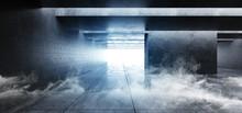 Smoke Fog Steam Grunge Concrete Modern Empty Space Garage Underground Tunnel Gallery White Blue Cinematic Glowing Shadows Dark And Bright Tiled Floor 3D Rendering