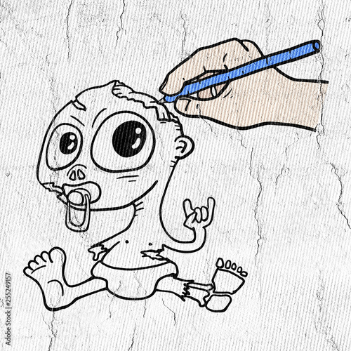 Photo  drawing zombie baby