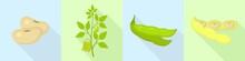 Soybean Icons Set. Flat Set Of...