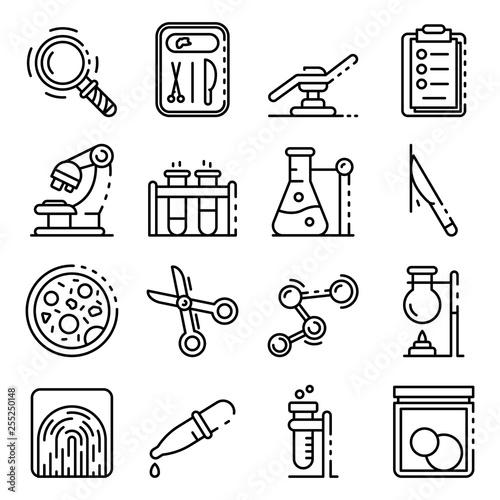 Obraz na plátně  Forensic laboratory icons set