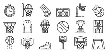 Basketball Equipment Icons Set. Outline Set Of Basketball Equipment Vector Icons For Web Design Isolated On White Background