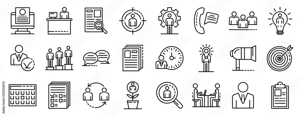 Fototapeta Recruitment icons set. Outline set of recruitment vector icons for web design isolated on white background