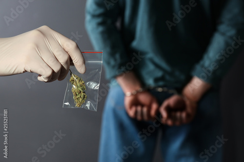 Police worker holding hemp in plastic bag near arrested drug dealer on color bac Fototapet
