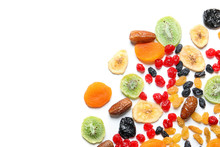 Different Dried Fruits On Whit...