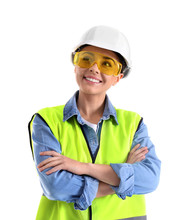 Female Industrial Engineer In Uniform On White Background. Safety Equipment