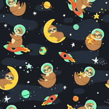 Seamless Space Pattern With Fu...