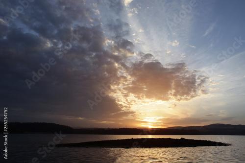 Fotografie, Tablou Hidden island in Solina Lake - Polanczyk sunset