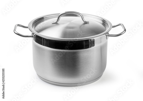 Fototapeta stainless steel cooking pot isolated on white