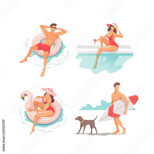 Set of people performing summer outdoor activities at beach - sunbathing, walking, carrying surfboard, swimming in sea. Traveling, holiday, vacation concept. Vector illustration.