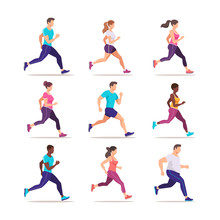 Set Of People Jogging. Runners Group In Motion. Training To Marathon. Trendy Style Vector Illustration.
