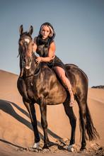 Arabian Horse, A Girl, And The Desert