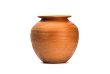 Antique Brown Clay Pot Isolated On White Background.