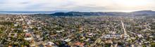 Aerial Shot Of Santa Barbara California USA, CIty, Streets, Houses Pacific Ocean, Motels