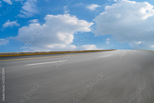 Aluminium Prints Gray Road surface and sky cloud landscape..