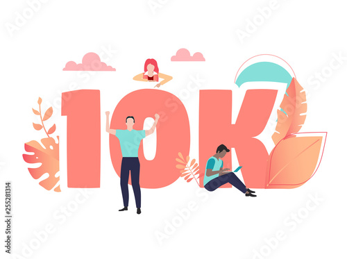Fototapety, obrazy: 10K likes, followers, online social media banner with number and people.
