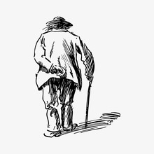 Old Man Walking With A Cane