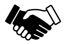 Black And White Handshake Or Shaking Hands In Unity Flat Vector Icon For Apps And Websites
