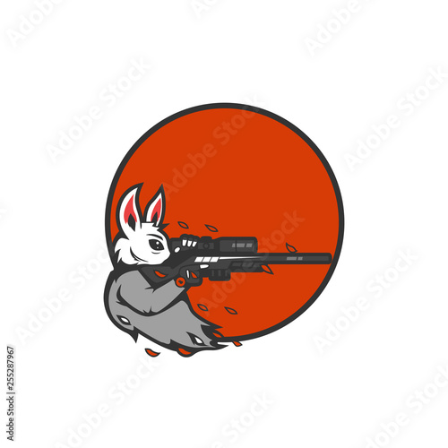Rabbit the marksman sniper aiming logo icon for e-sport gaming gamer team or tsh Canvas Print