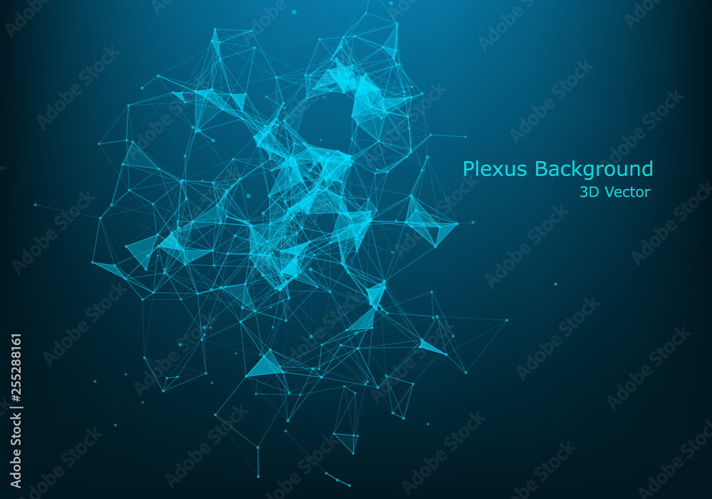 Fototapeta Abstract polygonal background with connected lines and dots. Minimalistic geometric pattern. Molecule structure and communication. Graphic plexus background. Science, medicine, technology concept