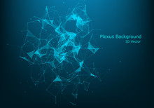 Abstract Polygonal Background With Connected Lines And Dots. Minimalistic Geometric Pattern. Molecule Structure And Communication. Graphic Plexus Background. Science, Medicine, Technology Concept
