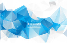 Abstract Low Poly Blue White T...