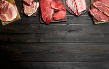 Raw Meat. Different Kinds Of P...