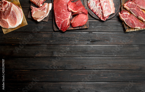 Raw meat. Different kinds of pork and beef meat. - 255290787