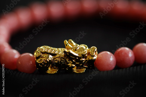 Photo  Gold PiXiu, Chinese style amulet for healthy and wealthy, unisex accessories by