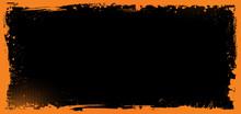 Horizontal Vector Halloween Banner Background With Grunge Border