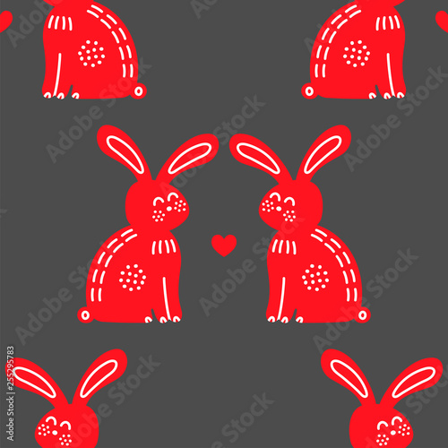 Romantic rabbits in love vector seamless pattern