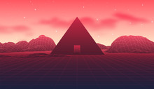 Ancient Mysterious Pyramid In 80s Styled Neon Landscape With Red Sky And Mountains In Retrowave, Synthwave Style Graphics