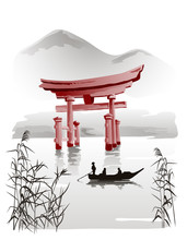 Floating Torii Gate Vector Drawing In Traditional Japanese Style Sumi-e. Illustration.