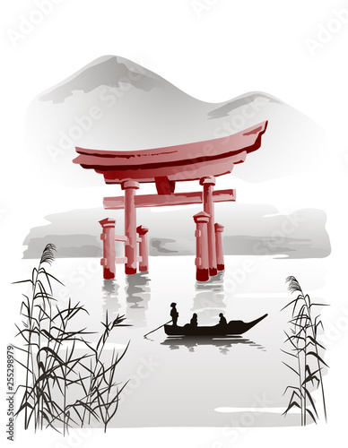 Floating Torii Gate vector drawing in traditional Japanese style sumi-e. Illustration. Wall mural