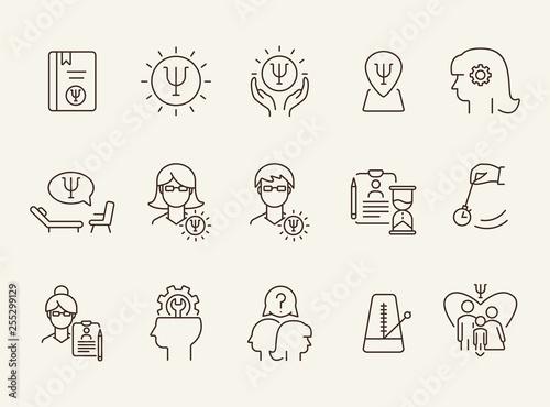 Fotografía  Brain work line icon set