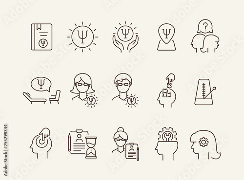 Valokuvatapetti Psychology line icon set