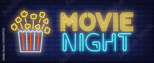Movie night neon text with popcorn paper box
