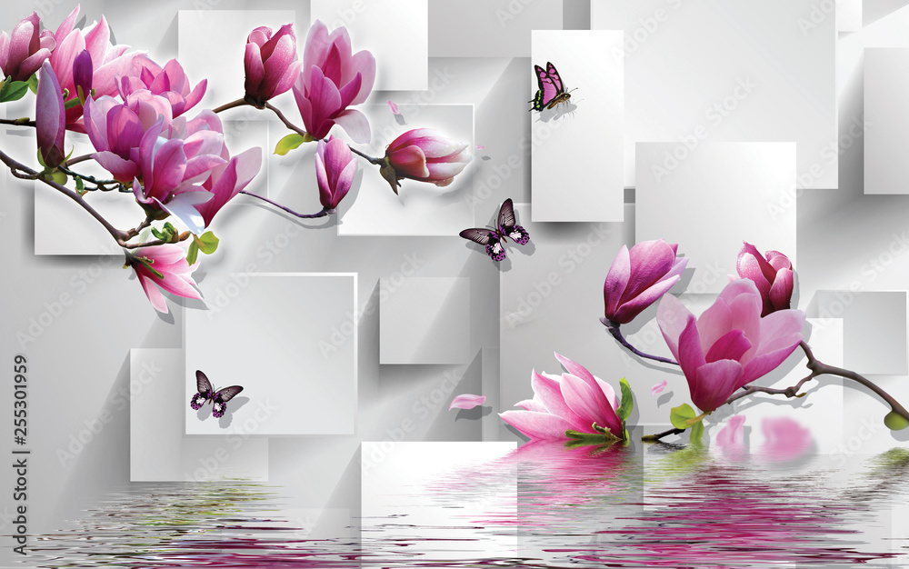 Fototapety, obrazy: 3d illustration, light background, rectangles, butterflies, magnolia